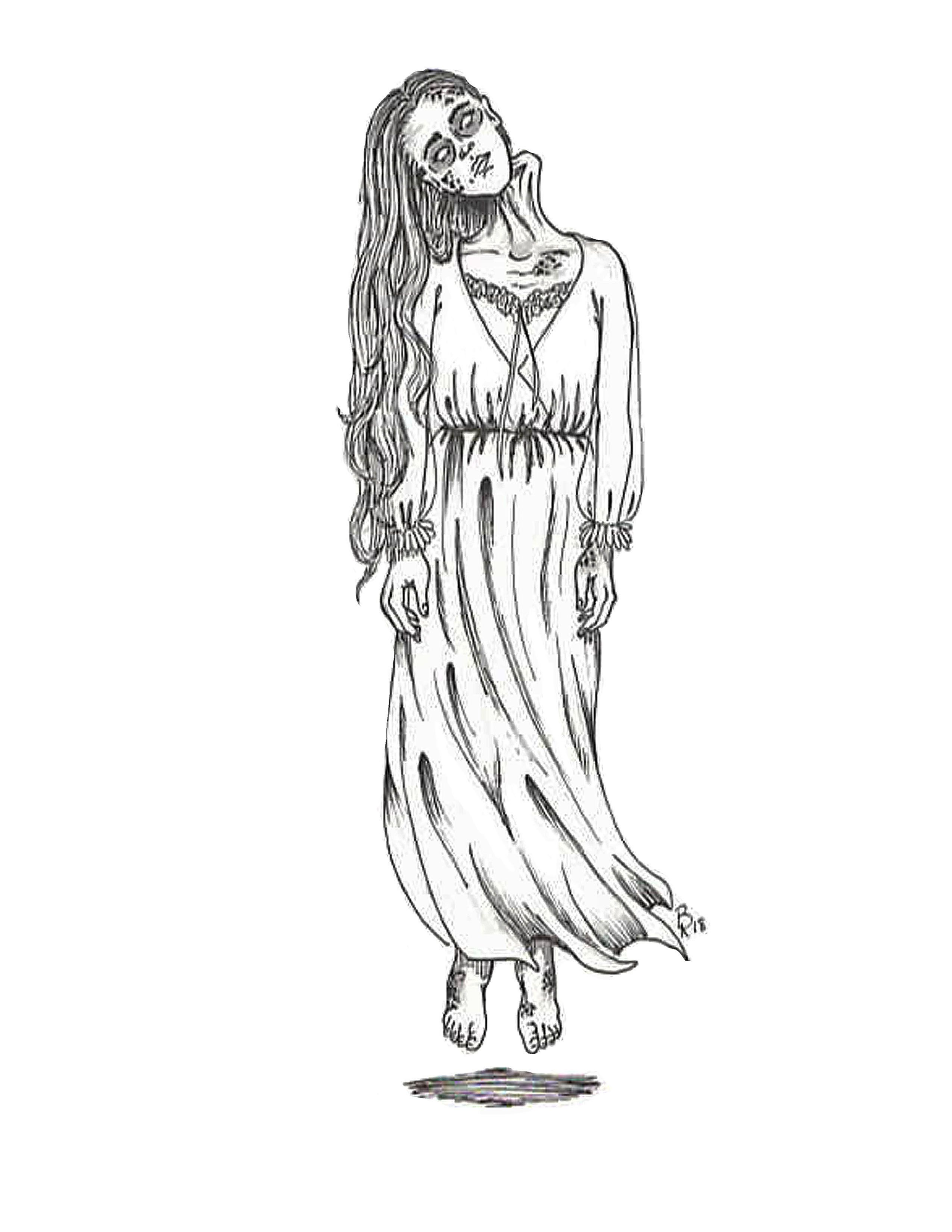 Bent Neck Lady Wall Art Print House On A Hill Haunting Art