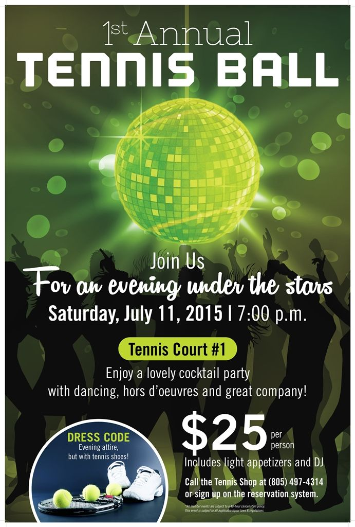 Tennis Ball Party Poster Flyer Event Template Country Club Events Tennis Posters Tennis Events