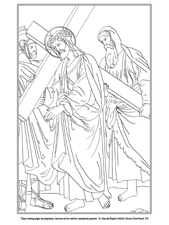 Fifth Station of the Cross Coloring Page | Biblische Ausmalbilder ...