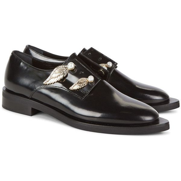 Coliac Black Leather Wing Brogues (2.050 BRL) ❤ liked on Polyvore featuring shoes, oxfords, brogue shoes, black leather shoes, leather oxfords, black shoes and black sparkly shoes