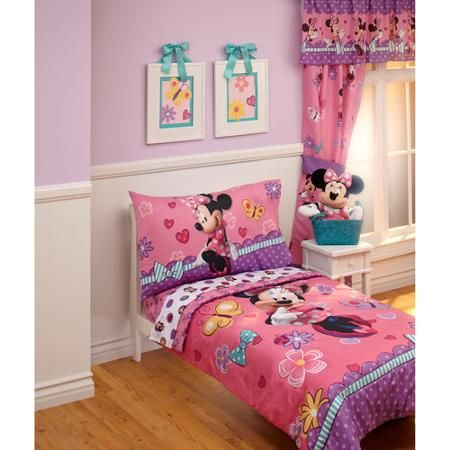 Disney Cute Minnie Mouse 4Piece Toddler Bedding Set $38  Girls Amazing Toddler Bedroom Set Decorating Inspiration