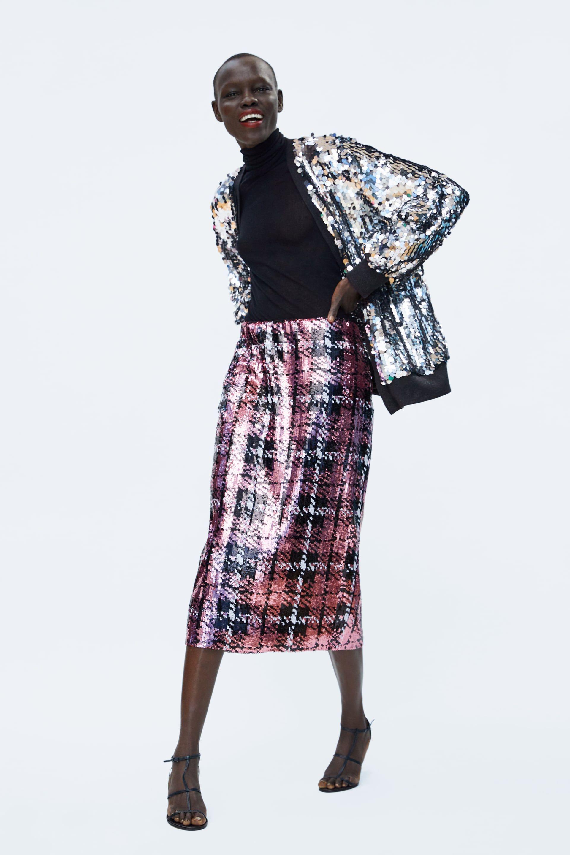 8517e36222 FALDA MIDI LENTEJUELAS in 2019   Moda   Fashion, Skirts, Dresses