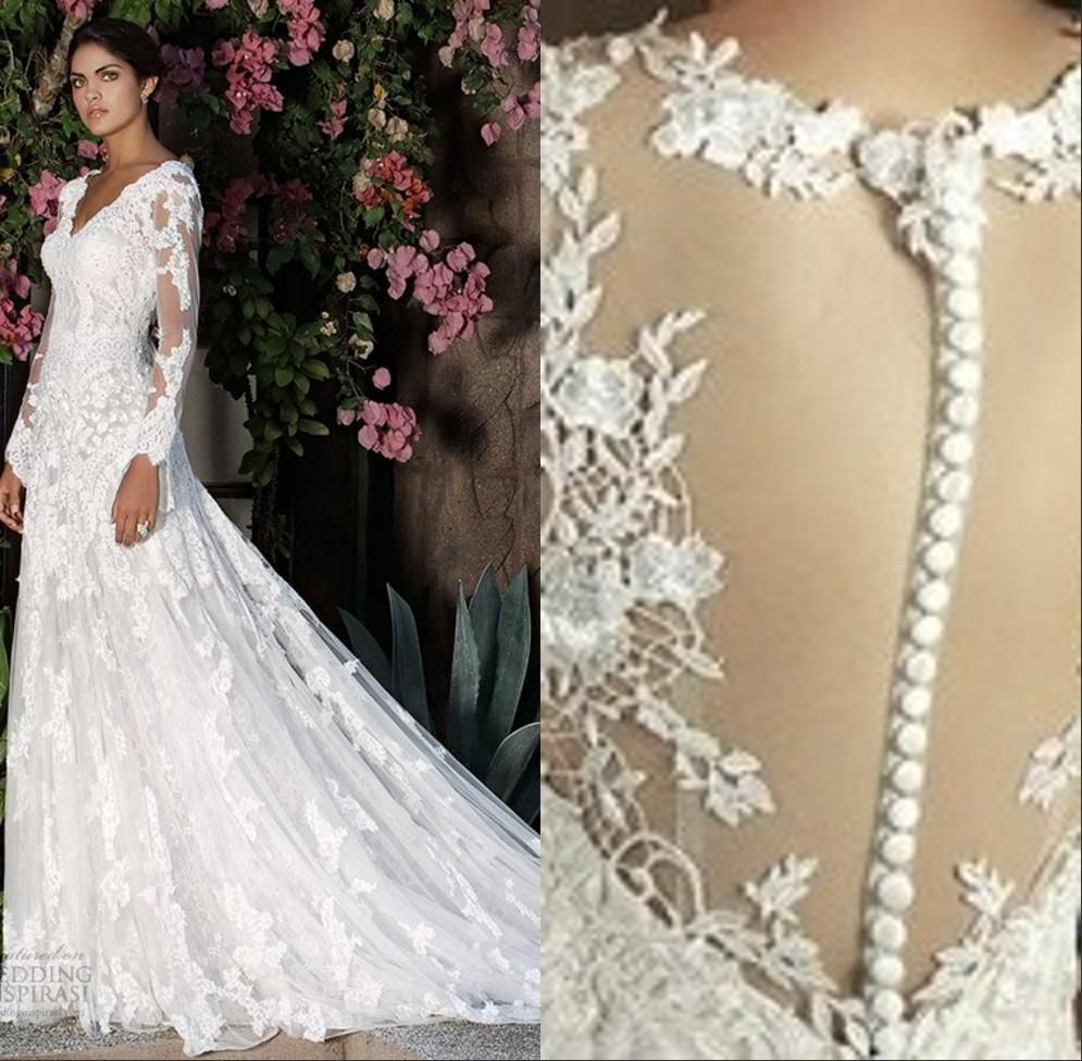Wedding dresses with train  Newest VNeck Illusion Long Sleeves ALine Covered Button Elie Saab
