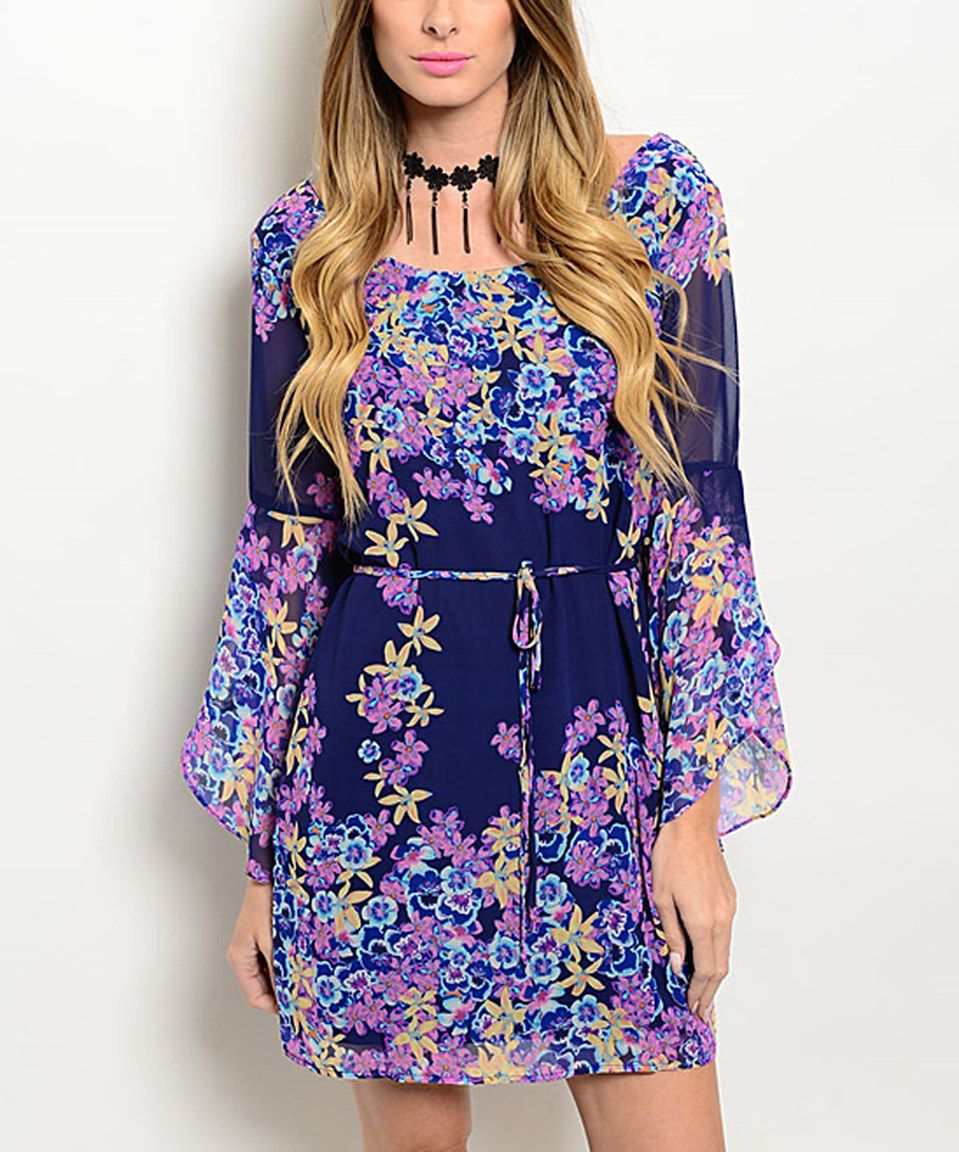 e375a7c496e Forever Lily Purple   Navy Bell-Sleeve Tie-Front Dress by Forever Lily   zulilyfinds