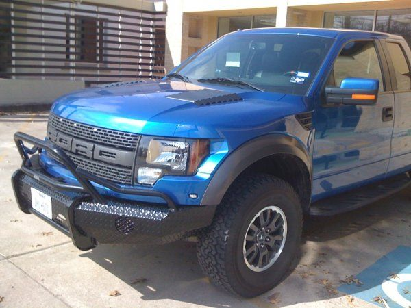 Ranch Hand Summit Bullnose Front Bumper On A Blue Ford Raptor In