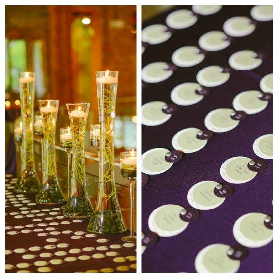 Escort Cards. Submerged Curly Willow. Floating Candles.    River East Art Center. Fragola Productions. Sweetchic Events.