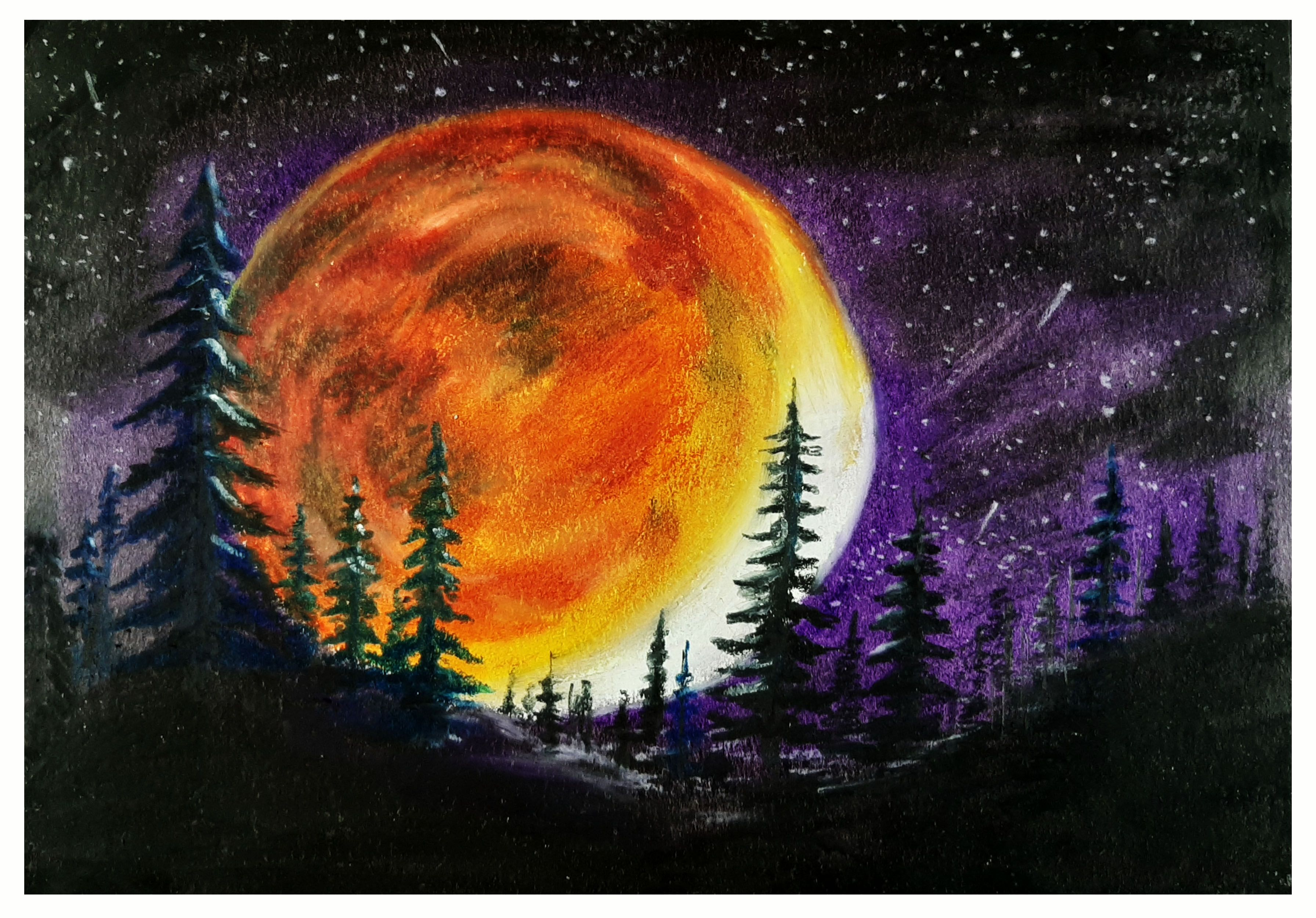 Hi All Watch And Enjoy Our New Video Showing A Drawing Of Beautiful Night With Moon Night Scenery With Moon Dra Oil Pastel Drawings Night Scenery Oil Pastel