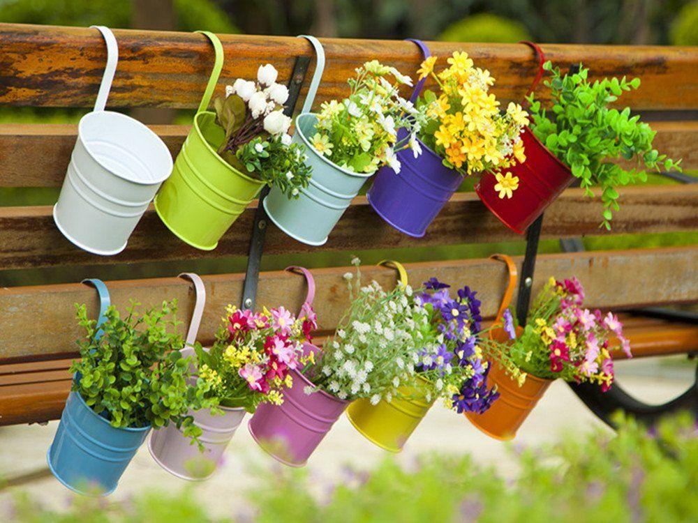 Dipamkar® Set of 10 Metal Pots Hanging Plant Pots Flower