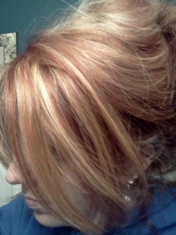 Subtle Red Lowlights With Blonde Hair Base Blonde Hair Color Blonde Color Rocker Hair