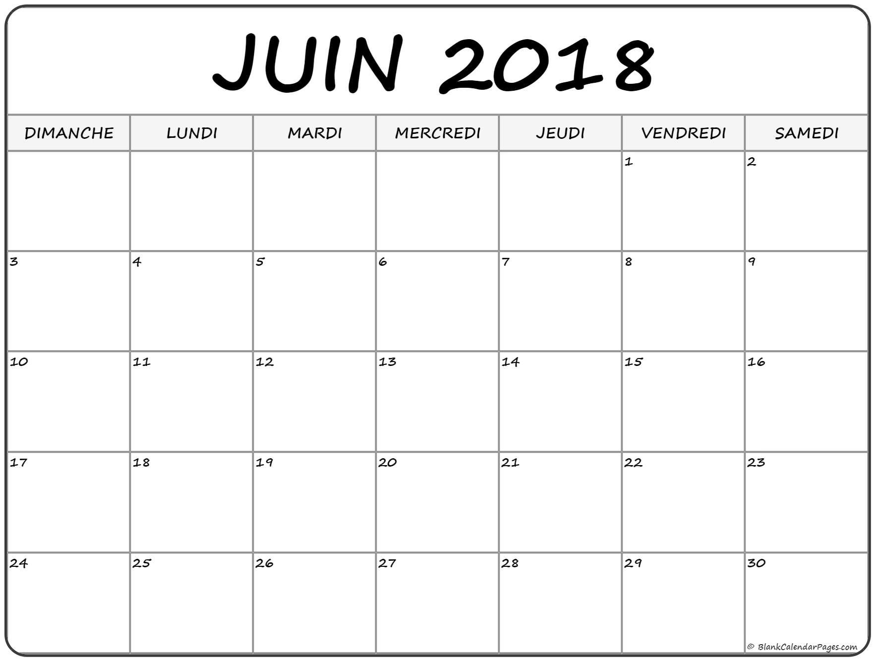 juin #2018 #calendrier #gratuit | Monthly calendar printable
