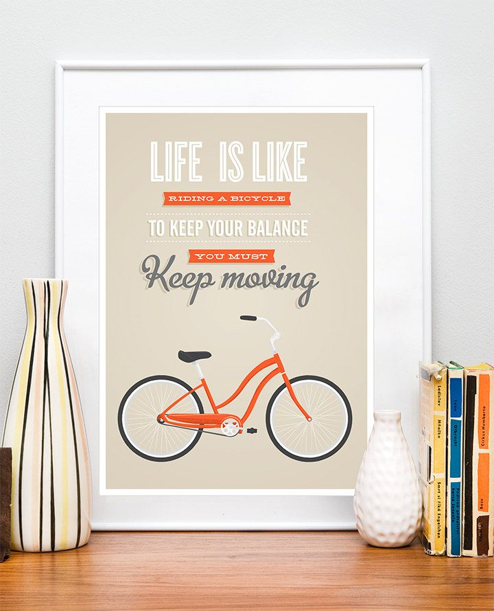 Bicycle quote poster print, bike quote, inspirational quote, retro ...