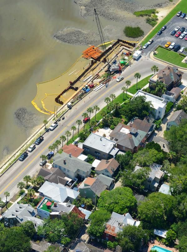 -Work continues on the seawall project, just north of St. Francis Barracks in downtown St. Augustine, as seen in this aerial photograph. BY PHILIP WHITLEY, Special to The Record