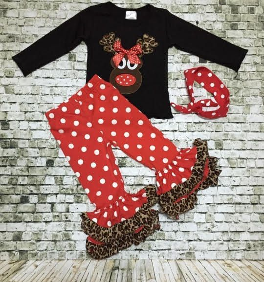 Boutique Clothing Girls Christmas Outfit Reindeer Set Polka Dots