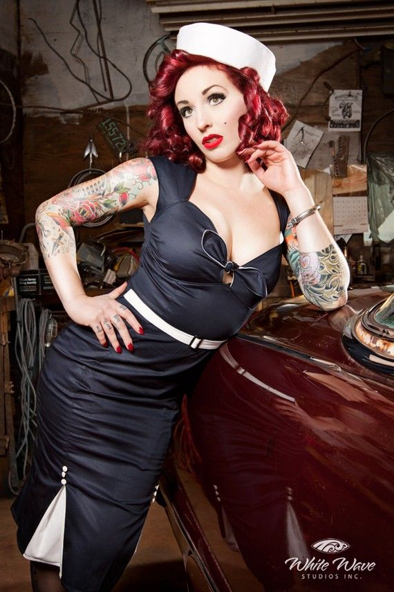 Pin up rockabilly navy marine sailor dress by holachicaclothing