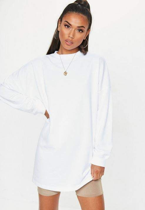 8a9f2d5f8bd5 Missguided White Crew Neck Longline Oversized Sweatshirt | wish list ...