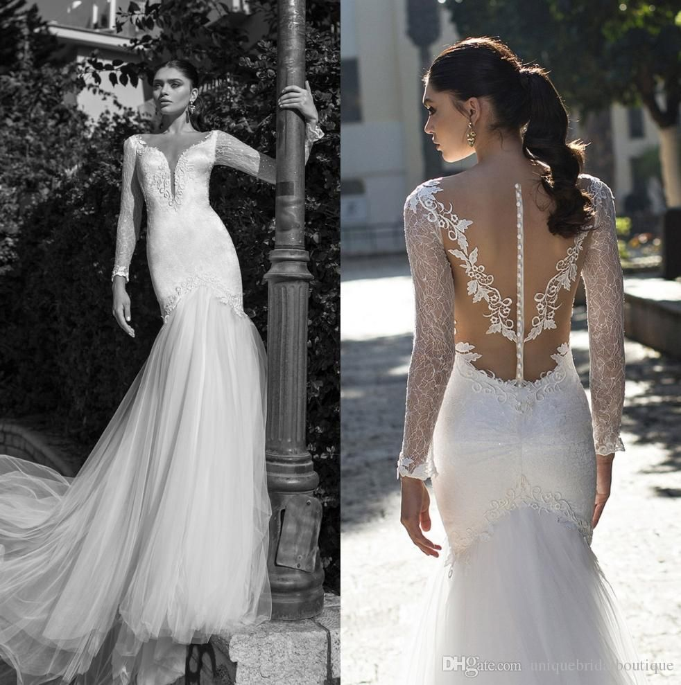 Wedding Dresses 2016 Mermaid Style with Long Sleeves and Illusion ...