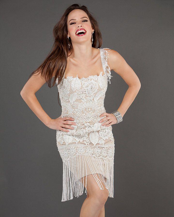 Jovani 73600 short lace dress elegant dresses short
