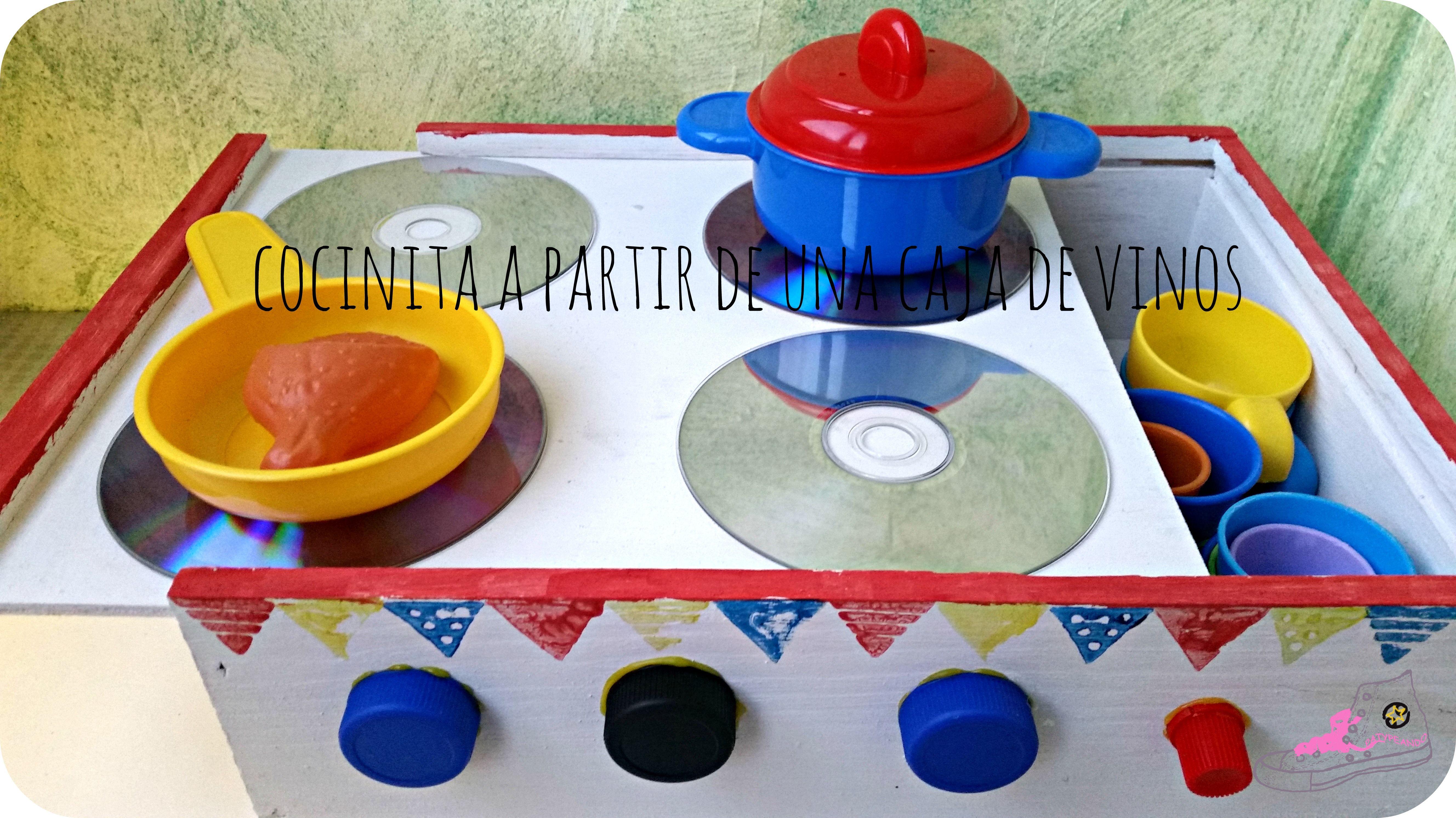 Cocinita diy a partir de una caja de vinos de madera - Ideas para hacer una cocina ...