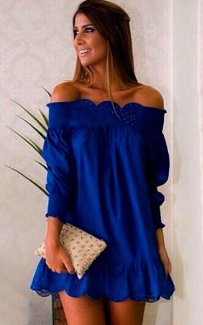 3a006055eb1648 Blue Off The Shoulder Peplum Hem Dress. Love the deep blue color too.