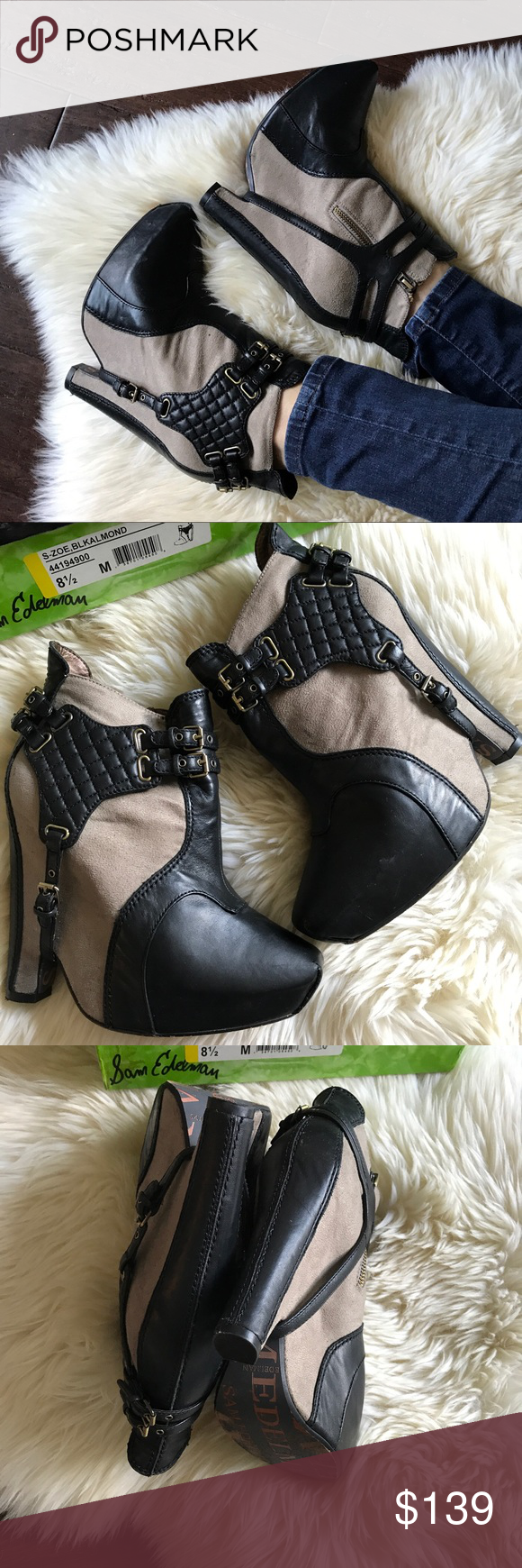 a1d996cc87898 Sam Edelman Zoe Harness Platform Ankle Booties 8.5 Rich leather mixes with  soft faux suede on