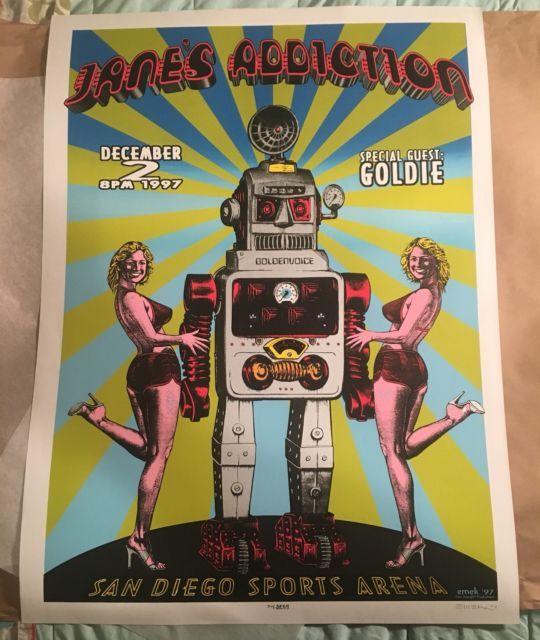 Emek Jane's Addiction Poster 12/2/97 Signed San Diego