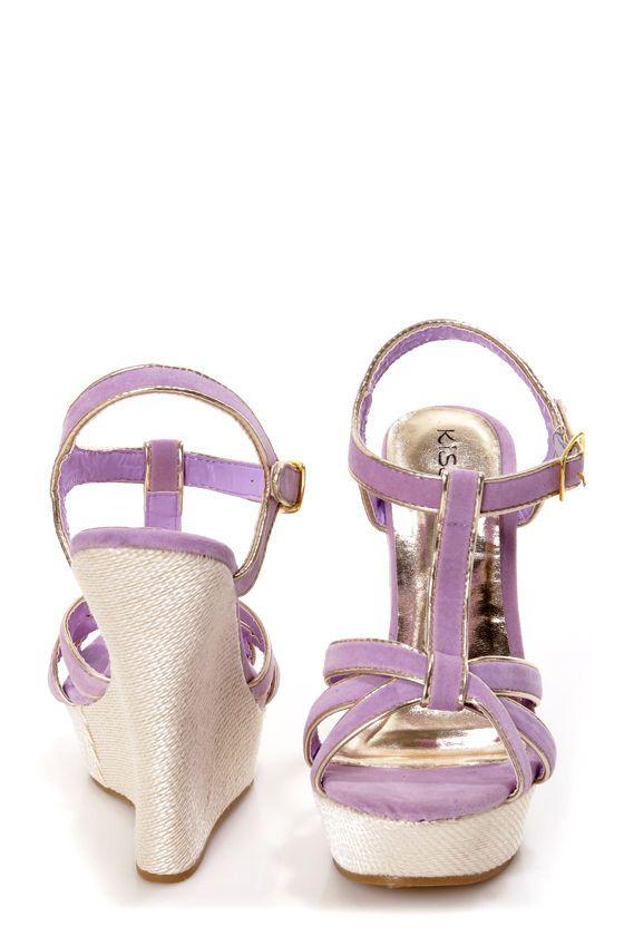 Valera 14 Lavender and Gold T-Strap Platform Wedge Sandals - $34.00