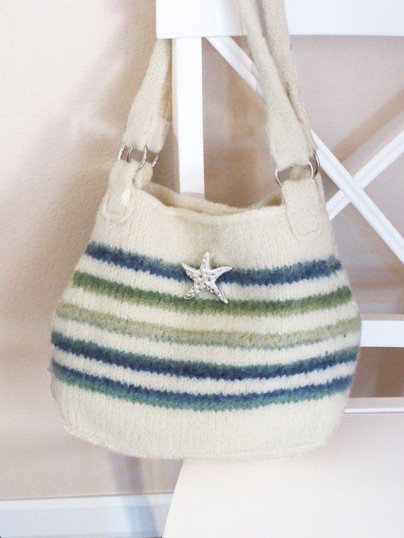 Knit Bag Pattern, Felted Purse, Iris Stripe - Knitting Pattern by ...