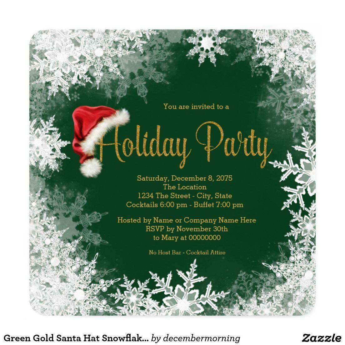 Green Gold Santa Hat Snowflake Holiday Party Card   Santa hat, Santa ...