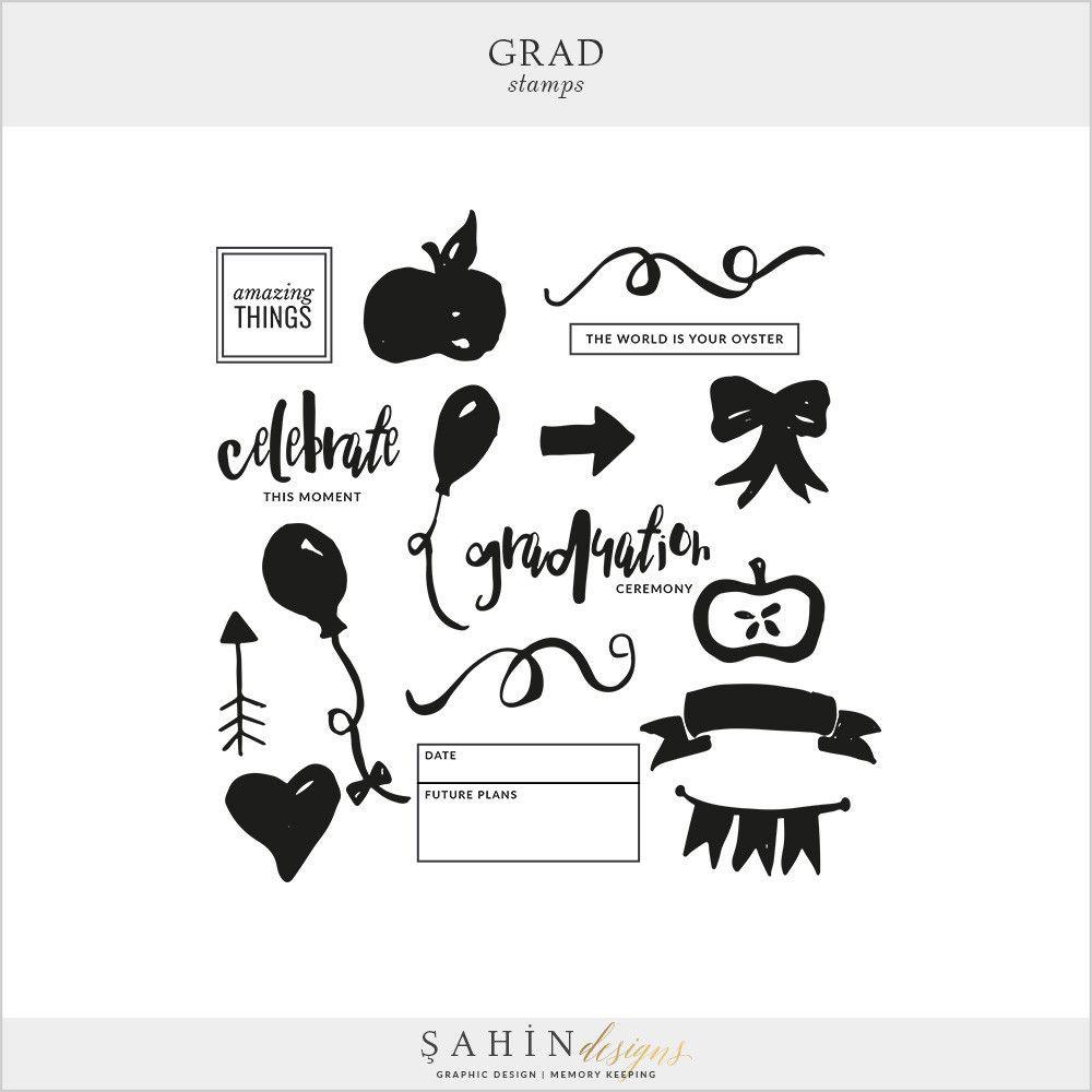 Grad Digital Scrapbook Stamps By Scrapbook Digital And Filing