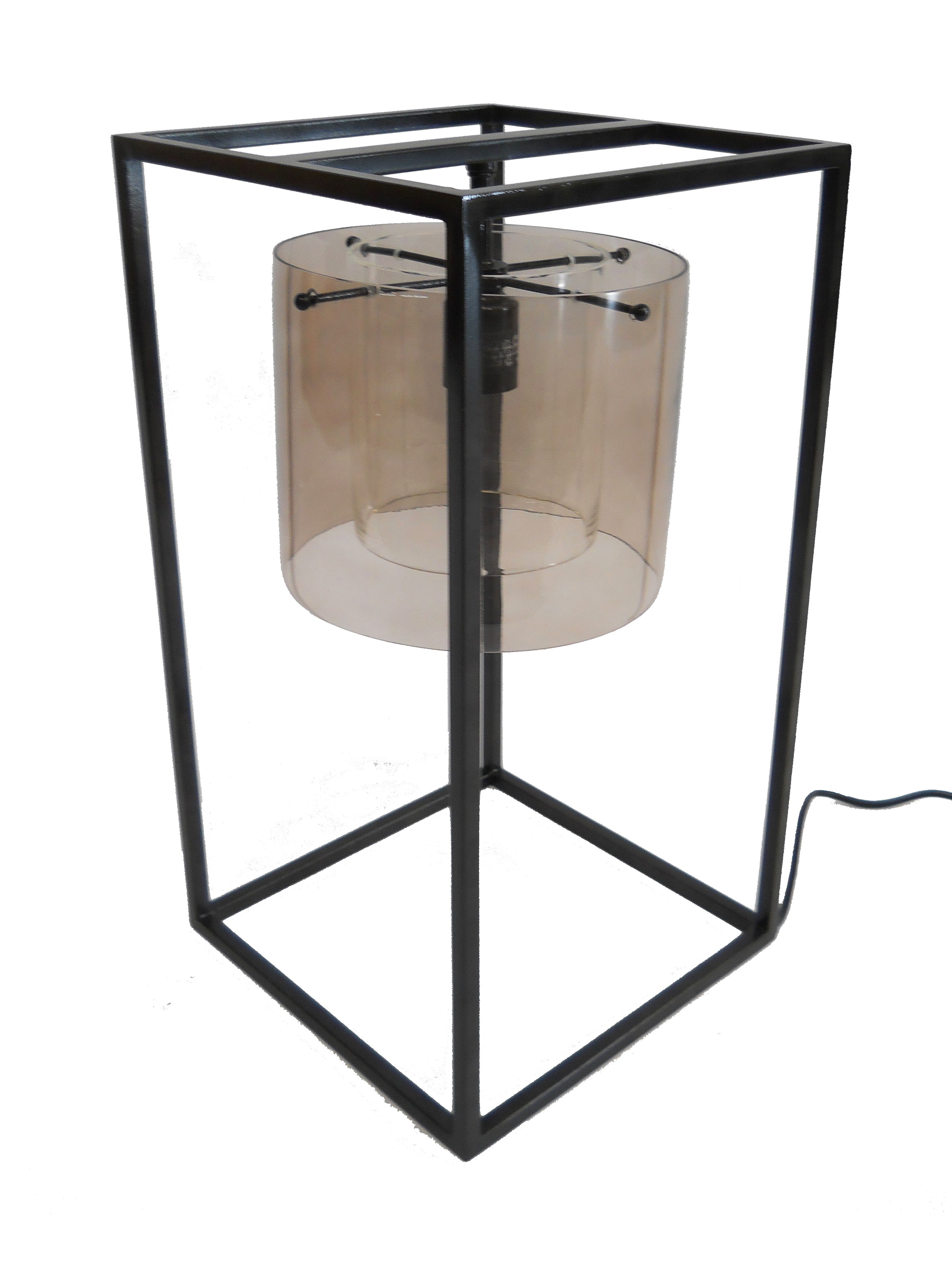 Table Lamp | Oil Rubbed Bronze | Smoke Glass | Hand Blown Shade | Custom  Made
