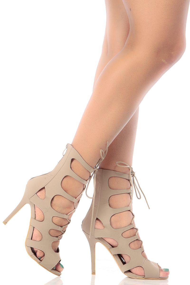 5defc86b1c9c Taupe Faux Nubuck Cut Out Lace Up Heels   Cicihot Heel Shoes online store  sales Stiletto Heel Shoes