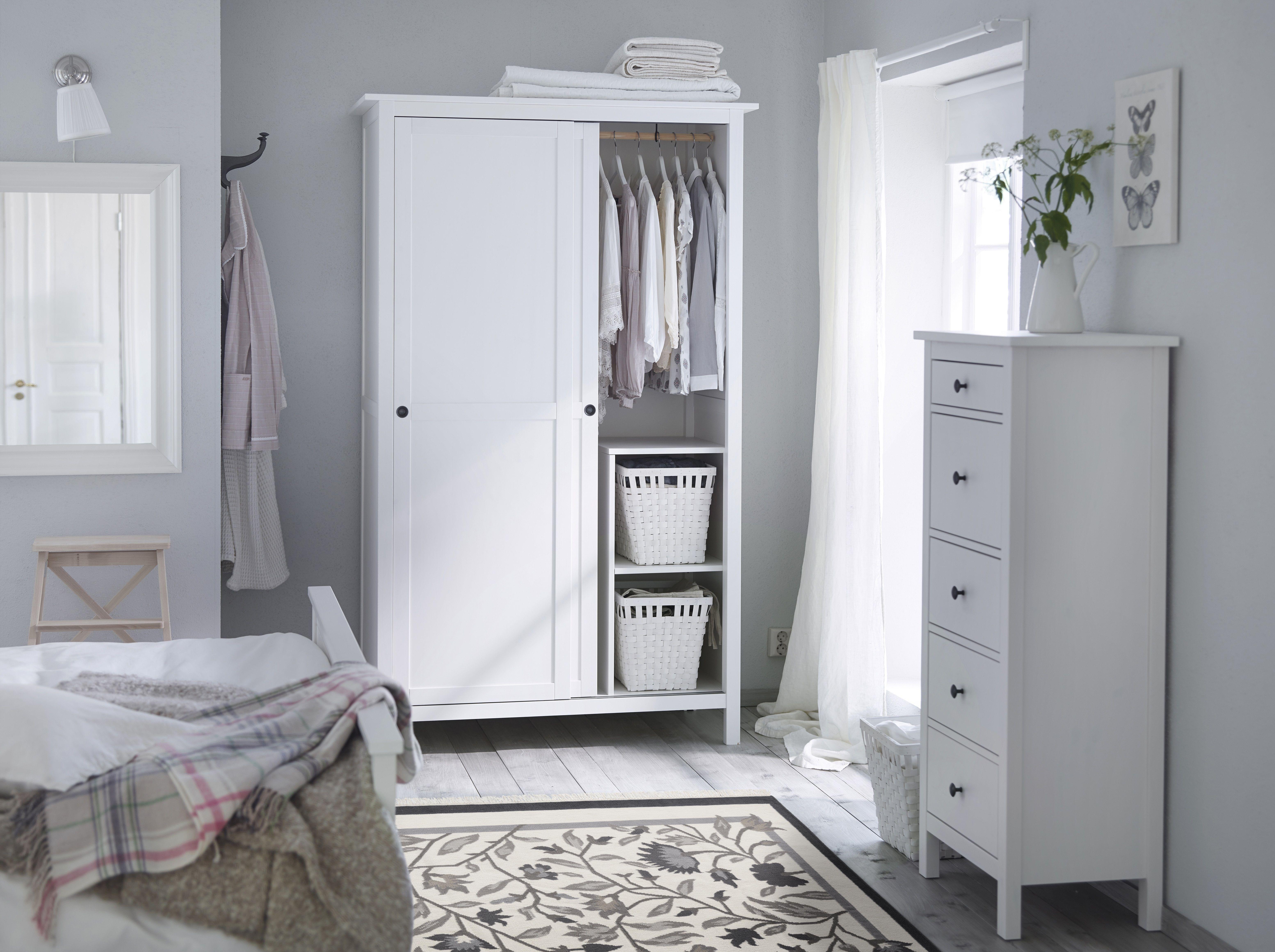 Schlafzimmer Ikea 2015 #20: HEMNES Kledingkast 2 Schuifdeuren - Witgebeitst - IKEA