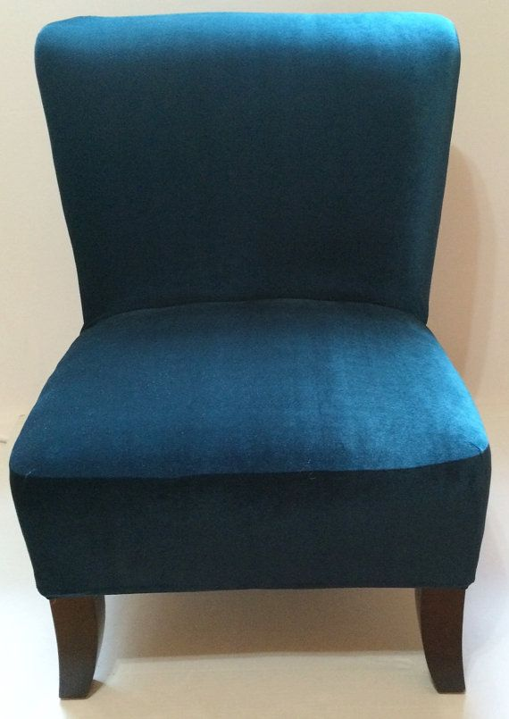 Teal Velvet Stretch Slipcover Chair Cover For Armless Chair