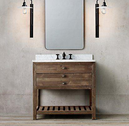 Bathroom Vanity Lights Restoration Hardware printmaker's bath collection - antiqued pine | restoration