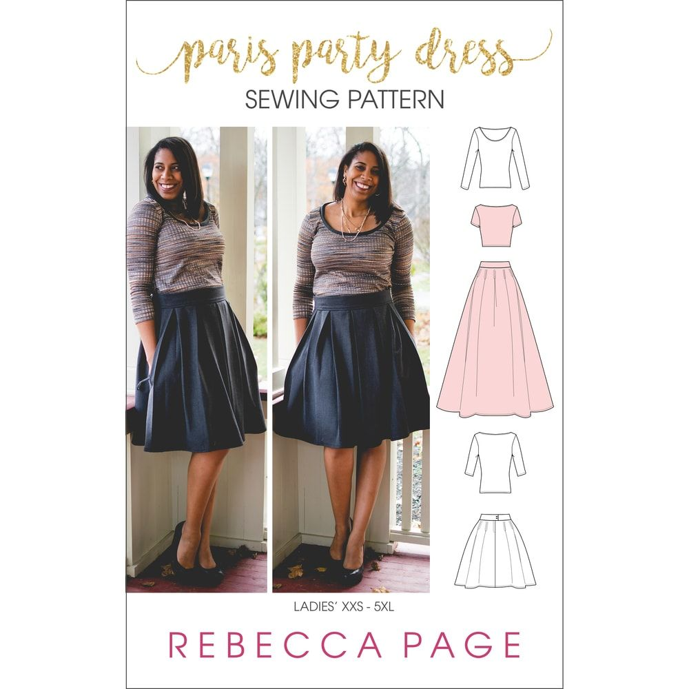 Paris Party Dress Ladies Top Pleated Skirt Sewing Pattern