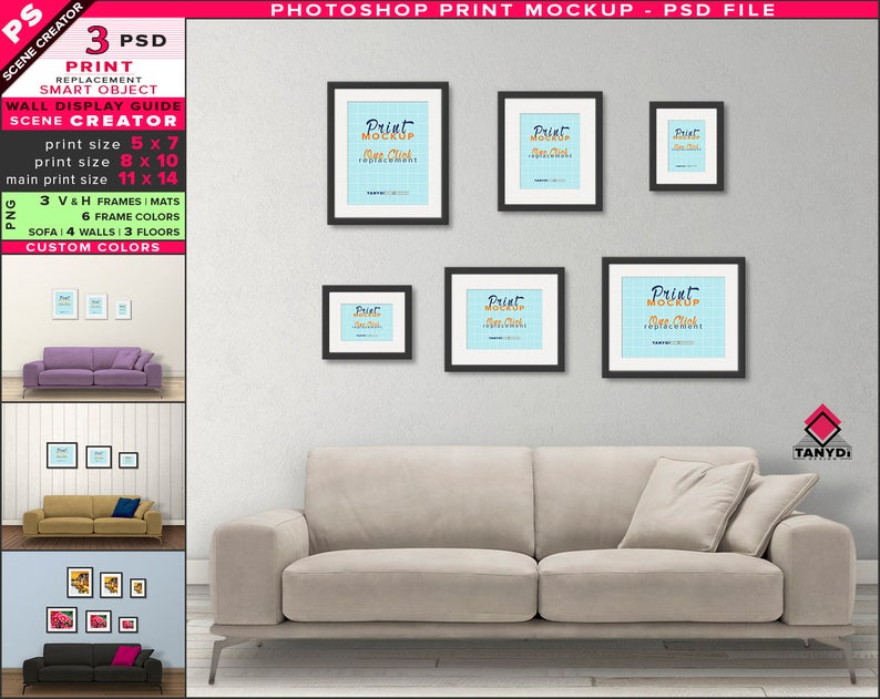 Wall Display Guide 5x7 8x10 11x14 Scene Creator Photoshop Print Mockup Vertical Horizontal Framed Prints Light Sofa Interior Wdg 1 4 In 2020 Wall Display Frames On Wall Wall