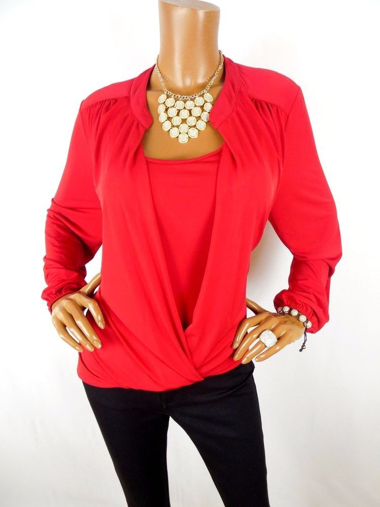 8af1eeaf259 ROZ   ALI Womens Top XL SEXY Red Holiday Blouse Hi Low Shirt Stretch Long  Sleeve  RozAli  Blouse  Casual
