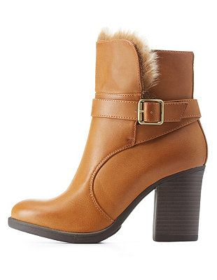 687f3d40c25 Faux Fur-Trim Belted Chunky Heel Booties: Charlotte Russe   Trend We ...