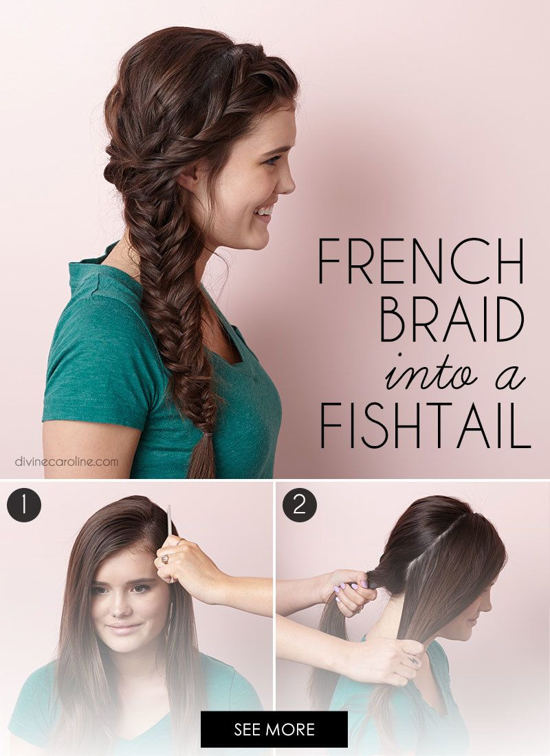 How To French Braid Into A Side Fishtail Braid More Curly Hair Styles Braided Hairstyles Fish Tail Side Braid