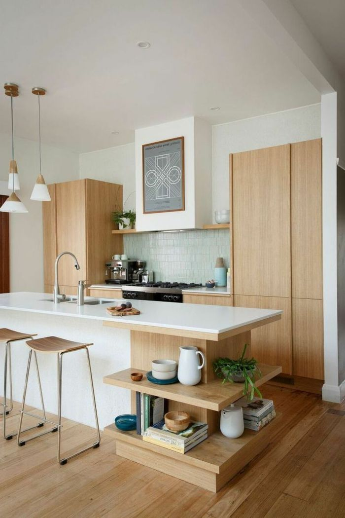 küchengestaltung mit holz offene wandregale und pendellampen - bodenbelag für küche