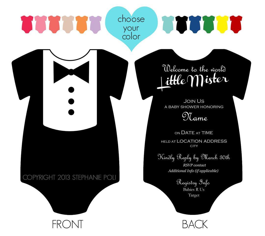 Customized Dapper Tuxedo Onesie Baby Shower Invitation ...