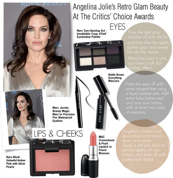 Angelina Jolie S Retro Glam Beauty At The Critics Choice Awards Beauty Grey Eyeshadow Glam