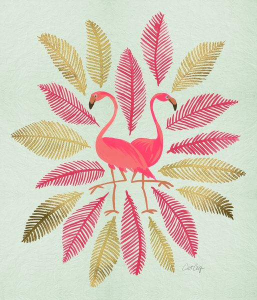 Flamingos – Pink & Gold Art Print by Cat Coquillette | Society6
