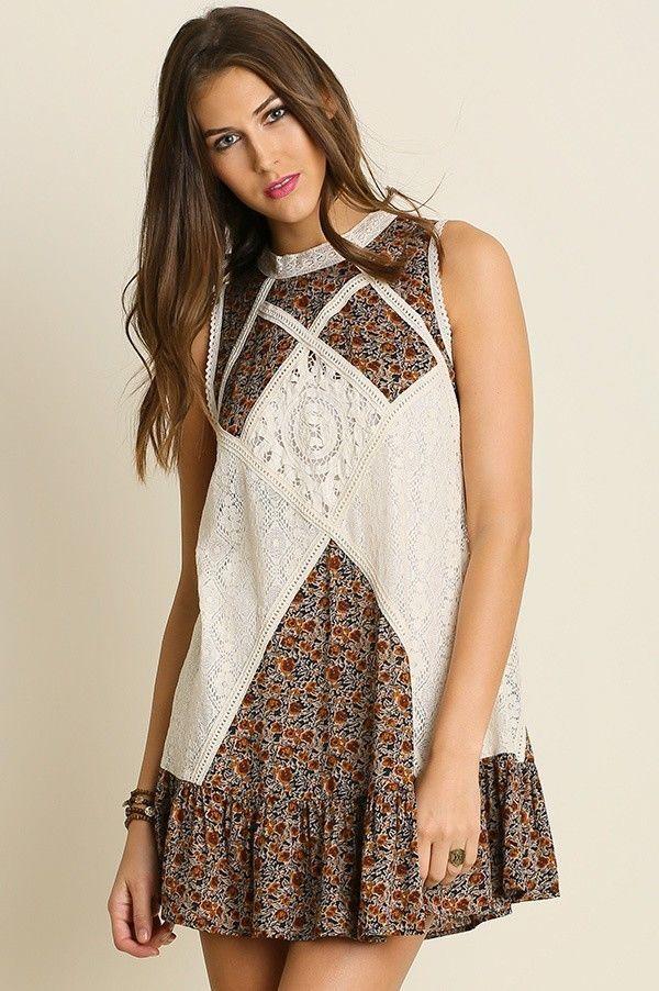 28c537aa454 Umgee Boho Ivory Crochet Lace Paisley Mix Print Flowy Swing Dress  Sleeveless S-L  Umgee  TrapezeSwingDress  SummerBeach