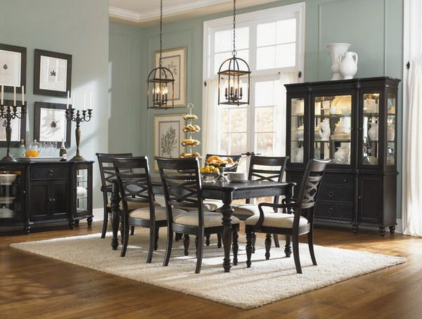 Room Dining Ideas With Dark Wooden Furniture Set