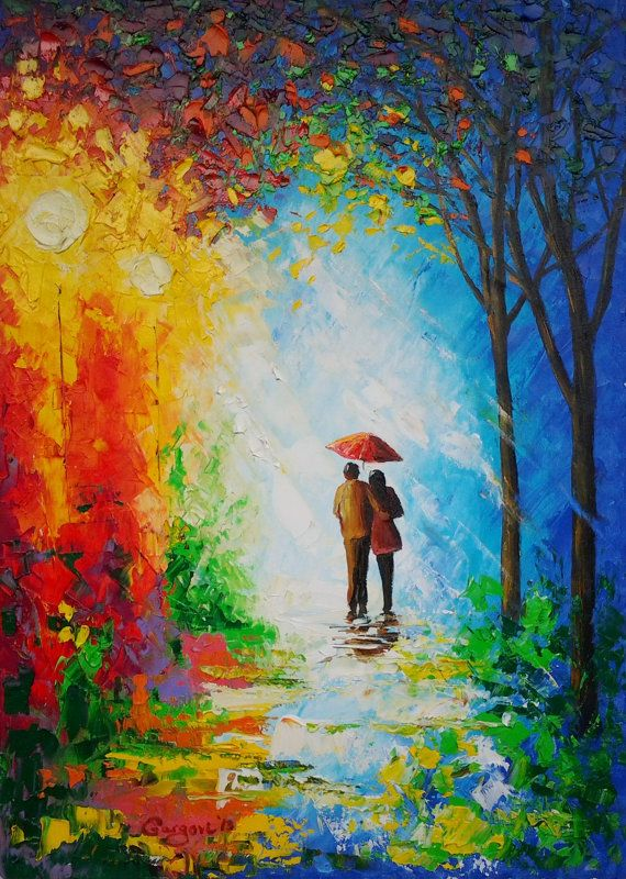 Original Painting Couple With Umbrella By GargoviArtGallery 19000