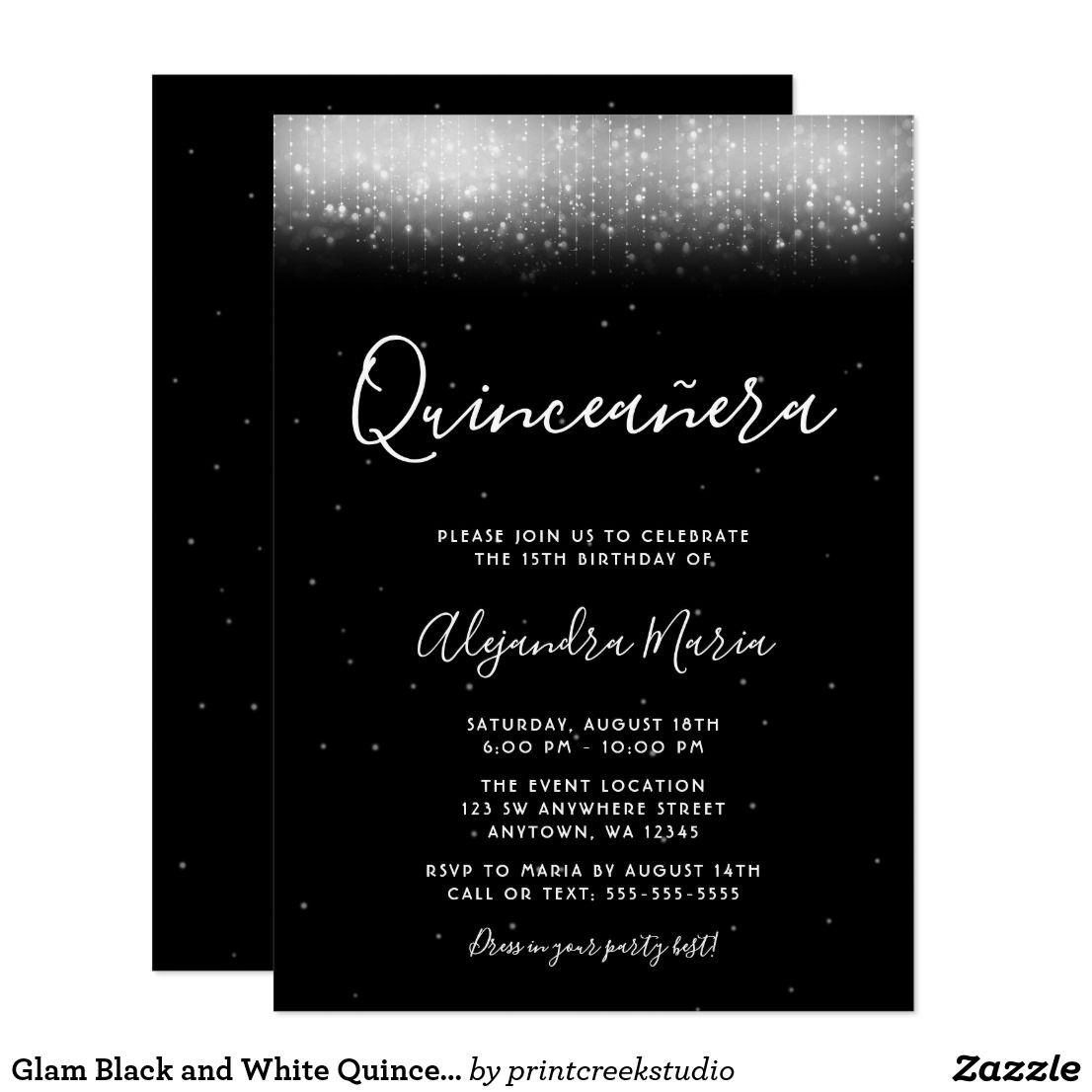 8827d0e228 Glam Black and White Quinceañera Invitation Modern black and white  Quinceañera invitations featuring trendy faux shimmer