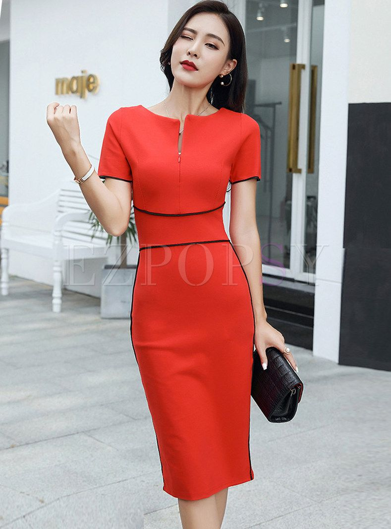 Color Blocked Gathered Waist Zipper Slim Bodycon Dress In