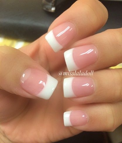 Pink White By Misslaladoll From Nail Art Gallery French Tip Acrylic Nails White Tip Acrylic Nails French Acrylic Nails