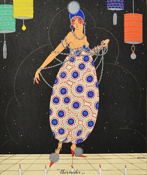 Martha Romme 1919 'Thermidor - July' Les douze mois de l'année aquarelle (watercolor)